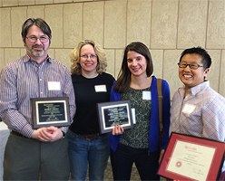 image of the GSNB award winners 2015: Dr. Ed Green, Graduate Fellows Cara Faillace and Talia Young. Pictured here second from the left is Julie Lockwood the director of the  Graduate Program in Ecology and Evolution