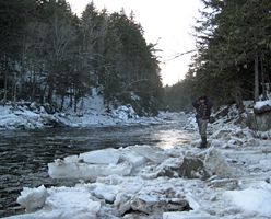 student on stream in winter ecology course