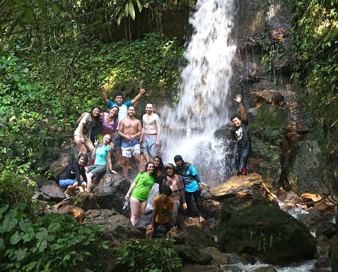 The study abroad group at a waterfall in Halimun National Park &copy Wendy Erb