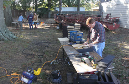 work table during the bat house building day